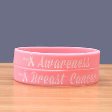 Breast Cancer Awareness Pink Silicone Wristband Bracelet Lot of 20 DONATION 52-1