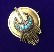 ANTIQUE FRENCH VICTORIAN 18K 18ct DIAMOND TURQUOISE CRESCENT TASSLE BROOCH PIN