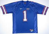 NWOT Vintage 90s Florida Gators UF Nike Sewn NCAA Football Blue Mens #1 Jersey