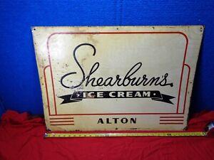 Vintage Advertising Metal Ice Cream Sign. SHEARBURNS  **ALTON INDIANA**