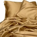 3 Piece Gold Satin Silky Sheet Set King Size Fitted + Pillow Cases 500 TC New