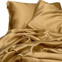 3 Piece Gold Bridal  Satin Silky Sheet King Size Fitted Pillows 550TC New