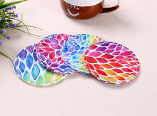 4PCS Watercolor Leaf Round Shape Bar Coasters Kitchen Decor Cup Holder Place Mat