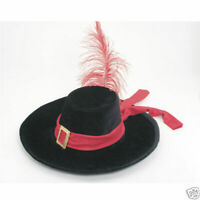 Velvet French Musketeer 3 Musketeers Hat W/ Feather Quill Hook Costume Accessory