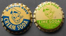 Lot Of 2 Vintage Donald Duck Cork Soda Bottle Caps - Cream Soda & Lime Soda