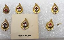 Red Cross Gallon Blood Donor Pin Set 1,2,2,3,4,5,6 Lot R7852
