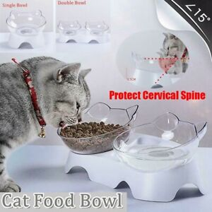 NEW 15°C Slant Protect Cervical Spine Cute Design Cat Shape Pets' Food Pot Bowl