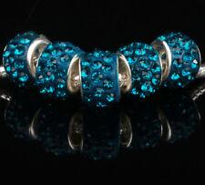 5PCS Wholesale Peacock Blue Charms Beads Necklace European charm Bracelet N#722