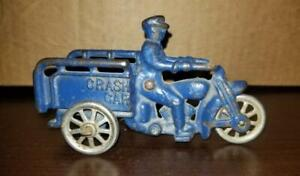 ANTIQUE CAST IRON HUBLEY CRASH CAR MOTORCYCLE