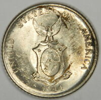 1944-D PHILIPPINES 20 CENTAVOS - HIGH GRADE SILVER CLASSIC! INV#320