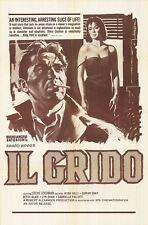 OUTCRY/IL GRIDO OriginalPoster ALIDA VALLI/STEVE COCHRAN/MICHAELANGELO ANTONIONI