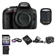 Nikon D5300 SLR Camera w/18-140mm Lens - Black + 2 Batteries, 32GB, Flash & More