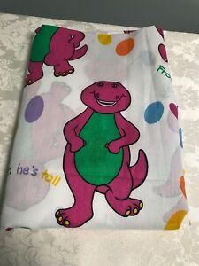 Vtg 1992 Barney Purple Dinosaur Twin Flat Bed Sheet Bibb Co USA 70 x 92 NOS