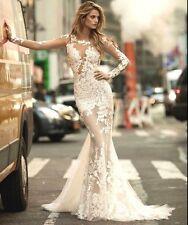 Mermaid Lace White/Ivory Wedding Dress Bridal Gown Custom Size 4 6 8 10 12 14 16