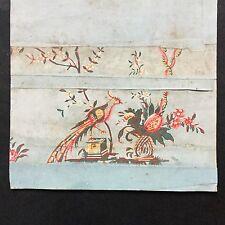 Papier Peint Ancien XVIIIè Baroque Oiseau Georgian Wallpaper Bird 18thC