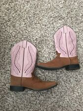 Justin Western Leather Upper Boots 2669Y Square Toe Pink Brown Size 6D Youth
