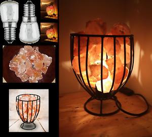 Himalayan Crystal Pink Salt Iron Wire Chunk Basket Natural Healing Lamp UK Bulb