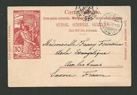 1900 Suisse Genève Aix les Bains Savoie entier postal sur carte postale /T7736