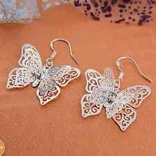 Hot Lady's Pretty Butterfly Shape Silver Cz Dangle earrings