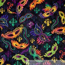 BonEful Fabric FQ Cotton Quilt Black Purple Green Mardi Gras Mask Fleur De Lis L