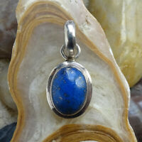 Vintage Blue Lapis Lazuli Necklace Pendant Tested 925 Sterling Silver