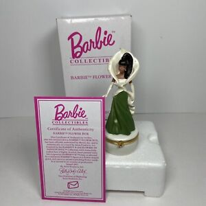 "Avon Barbie Flower Box Calla Lily - African American 4.5"" Figurine 2002 w/CoA"