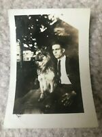 Collie Dog + Owner 1920s-1930s Freesoil Michigan Vintage Photograph