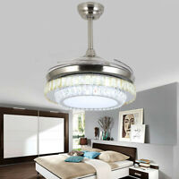 42 Remote Control Invisible Blade Silver Ceiling Fan Lamp Crystal LED Chandelier