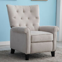 Elizabeth Push Back Recliner Chair Accent Roll Arm Chair Sofa Couch Home Decor