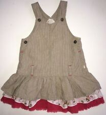 Jeanbourget Girls Overall Dress, Floral Tiered Ruffle Overall, Coral, 12M