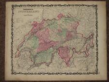New listing 1863 Switzerland Civil War Map Johnson Geography Atlas Original Antique
