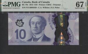 TT PK BC-70c 2013 CANADA BANK OF CANADA 10 DOLLARS PMG 67 EPQ SUPERB GEM UNC!