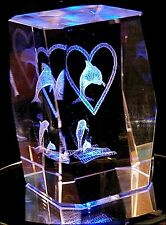 DOLPHIN/HEART 3D CRYSTAL WITH COLOR CHANGING STAND-NOT JUNK FROM GAS STATIONS