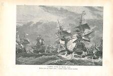 Bataille Navale du Texel 1673 par Eugène Isabey GRAVURE ANTIQUE OLD PRINT 1913