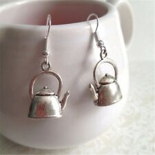 Antique Style Silver Teapot Earrings.Simple Dangle Earrings.Gifts for Her. Lover