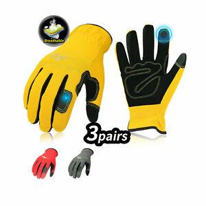 Vgo 3Pairs Flex Grip Leather Work Gloves, Light duty Mechanic Gloves (NB7581)