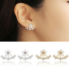 Fashion Daisy Flower Rhinestone Silver Studs Earrings Ear Jackets Jewelry