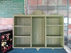 Doevtailed Green Painted Pine Wall Shelf Unit Reclaimed Wood