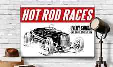 "Hot Rod Races Graphic Art Print Canvas Bonneville '32 Dry Lake 18""X24"" Guy Gift"