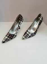 Women's Shoes Charlotte Russe Plaid Red White Black Pointed Toe Pumps 7 Narrow