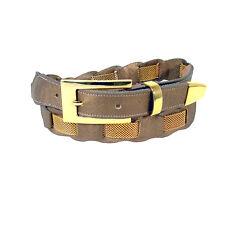"BB SIMON Gold Mesh Metallic Bronze Leather Belt Women's L (32""-35"")"