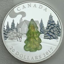2017 $20 Murano Glass Snow-Covered Tree 1 oz. 99.99% Pure Silver Color Proof