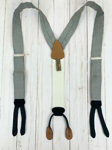 Trafalgar Men's Suspender Braces Black And White Checkered Leather Adjustable