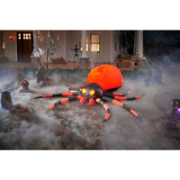 Swirling 4 Ft Fuzzy Orange Black Spider Halloween Projection Inflatable Outdoor
