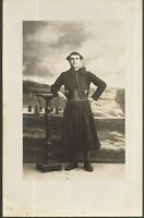 ZOUAVE YOUNG SOLDIER WW1 ANTIQUE RPPC PHOTO POSTCARD