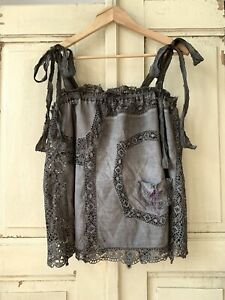 Tank Top Linen Boho Lace Distressed Grunge Gothic Upcycled Magnolia Pearl style