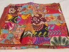 Indian kantha quilt cotton patchwork bedspread handmade ethnic vintage blankets