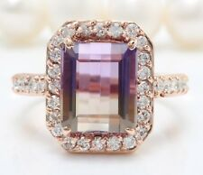 8.80 Carat Natural Ametrine and Diamonds in 14K Solid Rose Gold Ring