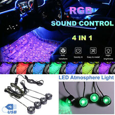 Led Car Interior Atmosphere Neon Lights Strip Music Control Floor Decor Light Us