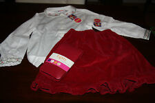 Gymboree vintage Holiday Christmas 3 pc Set Top Skirt Tights size 6 NWT velvet
